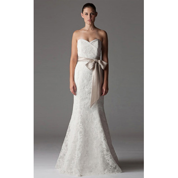 Trumpet Mermaid Nhà Thờ không rạc Train Lace Ribbon Wedding Dress