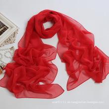 Lady Fashion Polyester Chiffon 30d Seidenschal in einfachen Farben (YKY1002)