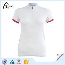 Camisa de Ciclismo de Secagem Rápida Clássica em Branco para Mulheres
