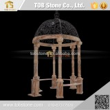 Statue Column beige marble gazebo , Outdoor gazebo
