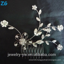 beautiful flower bridal comb full crystal ladies hair jewelry comb metal hair comb for girls