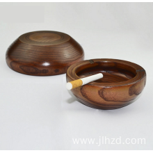 Hard wooden round cigar ashtray