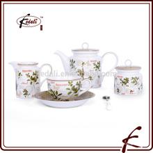 Baunilha design decalque padrão de chá de porcelana durável chá conjunto
