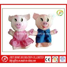 Venta caliente de regalo de bebé de juguete para la marioneta de mano de cerdo de peluche