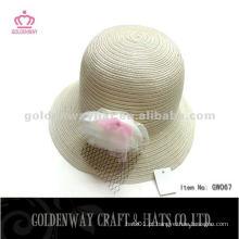 Ivory Atacado chapéus de palha com flor GW067