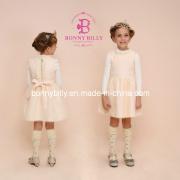 Cream Woolen Children's Apparel, Fashion Back Zipper Winter Dress (332#)