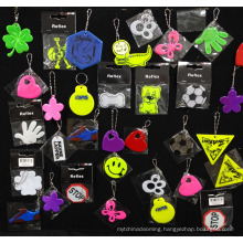 China new design colorful traffic light innovative reflective chain keychains