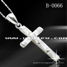 925 Silber CZ Kreuz Anhänger (B-0066)