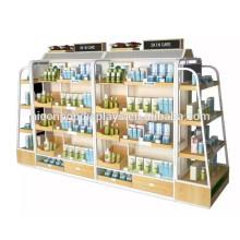 Estante de exhibición de metal de madera Productos de maquillaje Merchandising Tienda al por menor Pantalla cosmética del piso del estallido