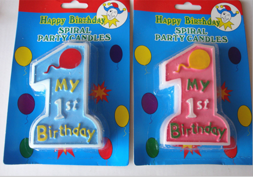 Blue and Pink One Birthday Candle