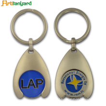 Custom Metal Token Trolley Coin Holder Keychain