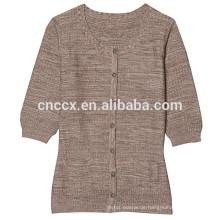 15JWS0518 Frau Frühling Sommer kurze Ärmel lange Stil Pullover mit Knöpfen
