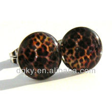 Unique stainless steel acrylic Brown Leopard Stud Earrings