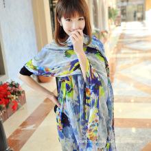 Silk Beach Dress weiblichen Big Blue Schal