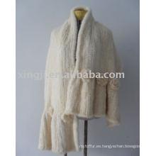 Chal de piel de visón de color blanco natural tejido a mano