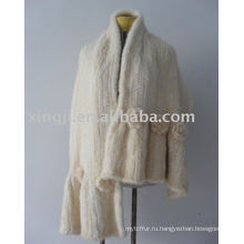 Ручной Вязки Натуральный Белый Цвет Норки Шаль