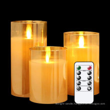 wholesale smokeless LED Glass Tube Real Paraffin Wax Candles Flameless Moving Wick Candle