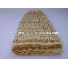 light blonde deep wave human hair weft