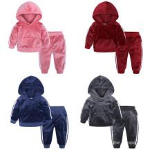 Kids Jacket Pants Clothing Sets Spring Girls Clothing Set Boy Hoodie Set Sport Leisure Gold Velvet Tracksuit