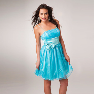 Column Spaghetti Straps Mini Organza Ruffled Bow Cocktail Dress