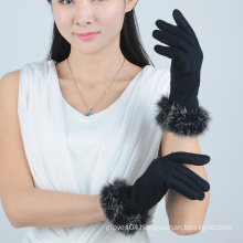 Luxury Fashion Women Wool Gloves with Rabbit Fur on the Cuff