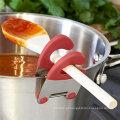 Food grade colorido silicone lidar com colher de aço inoxidável resto clipes de panela