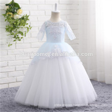 2017 Aliexpress hot sell high quality new design tulle flower girl dress short sleeve little girls wedding dress