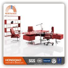 MT-07 Tisch für Executive rot Leder / PU Abdeckung Executive Tisch Edelstahlrahmen MDF Bürotisch