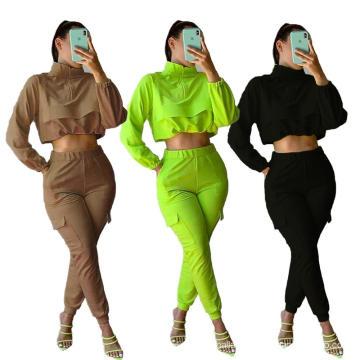 C7208 2020 Crop Tops T-shirts Outfits Autumn Solid Colors Cargo Pants Crop Hoodies 2 Piece Set Women Clothing Tracksuit Set