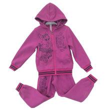 Terno do velo do casaco de lã da flor com a capa no desgaste do esporte da roupa das crianças (SWG-122)