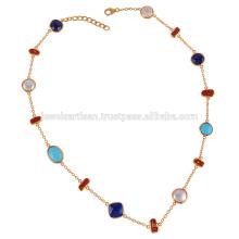 Arizona Turquoise Lapis Coral Stick & Pearl Multi Formen Edelstein mit Sterling Silber Halskette