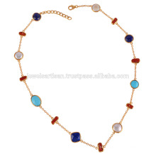 Arizona Turquoise Lapis Coral Stick & Pearl Multi Shapes Gemstone com colar de prata esterlina
