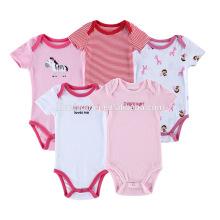 Высокое качество светлый Цвет 3,5 комплект с коротким рукавом один-кусок хлопка малыша комбинезон новорожденных девочек боди