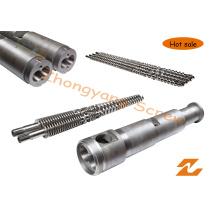 Baril à vis jumeau conique pour le baril à vis d'extrusion de tuyau de profil de feuille de granule de PVC