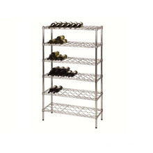 Venta al por mayor regulable de cromo Tall Metal Wine Rack, NSF aprobación