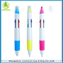 Pluma de bola plástica promocional multi 4 color resaltador
