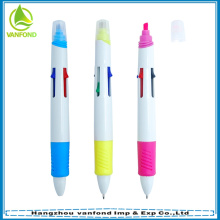 Pena de esfera plástica promocional multi 4 cor com marca-texto