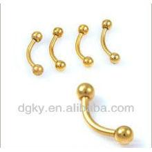 Eloxiertes Gold Titanium Fake Augenbrauen Piercing