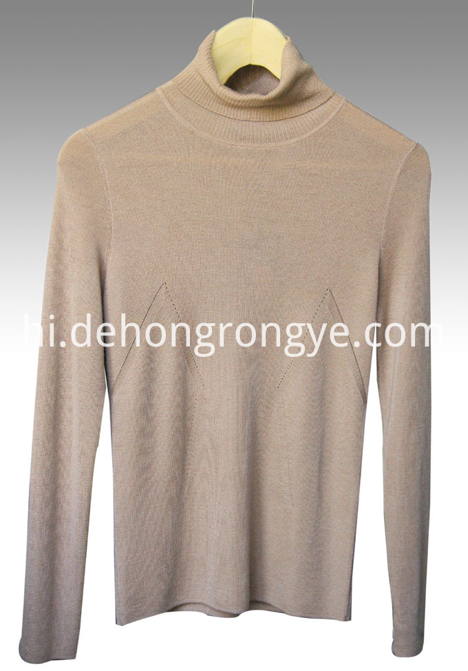 Camel High Collar Worsted Cashmere Pullover