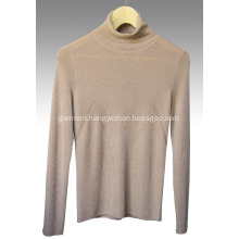 High collar worsted cashmere pullover