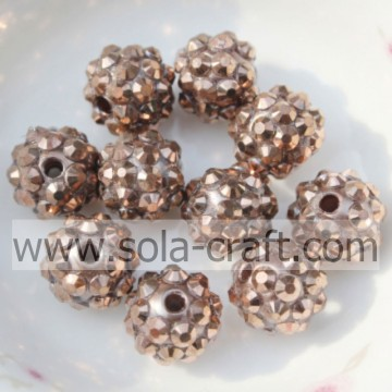 10*12MM Copper Rhinestone Chunky Resin Beads For Jewelry