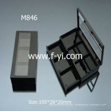 Rectangle Black Two Layers Cosmetic Containers Plastic Empty Eyeshadow Palette