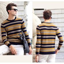 Men′s Cashmere Sweater Round Neck Stripe 16brdm007
