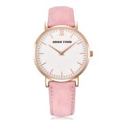 pink leather strap japan movements lady hand quartz watch