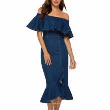 Superstarer Ready to Ship Short Sleeve Fashion Ruffle Sexy Club Evening Party Elegant Mermaid Dress for Woman