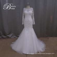 Langarm Slim Meerjungfrau Brautkleid Hochzeit Spitzenkleid