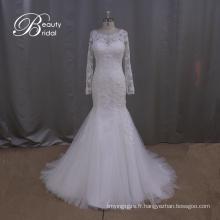Robe de mariée manches longues dentelle Mermaid Slim robe de mariée