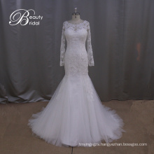 Long Sleeve Lace Slim Mermaid Bridal Gown Wedding Dress