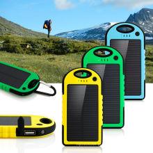 5000mAh dual-usb impermeável banco de energia solar banco carregador para telefone celular