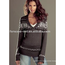 ladies deep V-neck long sleeves pullover